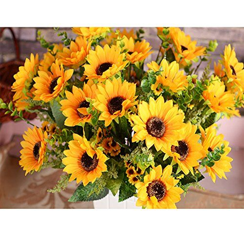 Sunflowers Artificial Flowers Bouquet For Home Decoration/Wedding Decor 2 Bunches of Flowers Per Pack 12 Folowers Per Bunch (sunflower)