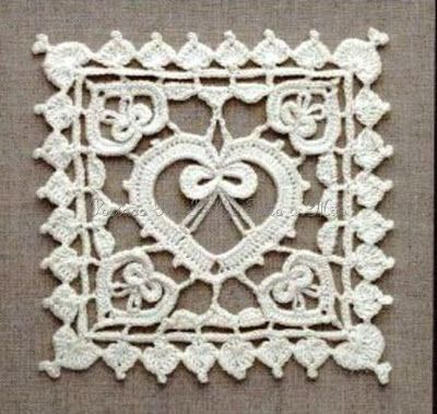 crochet heart square, Free pattern