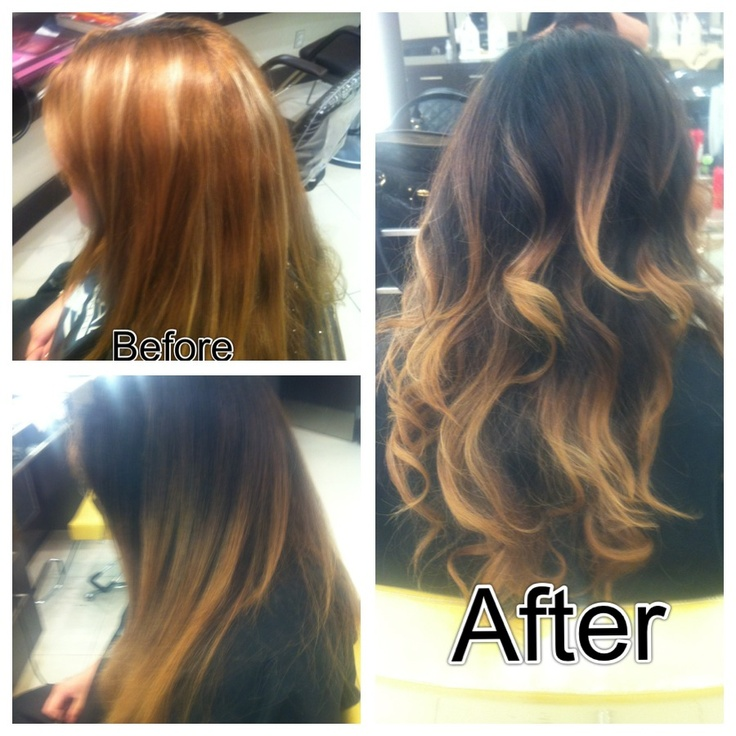 Ombré before and after