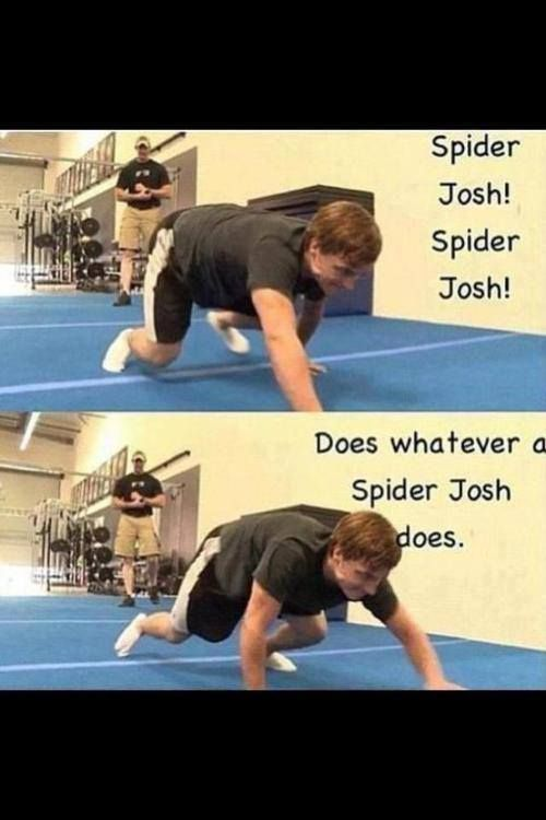 Spiderman, Spiderman, does whatever Josh hutcherson can. He can bake all the bread. Does whatever Josh hutcherson can!