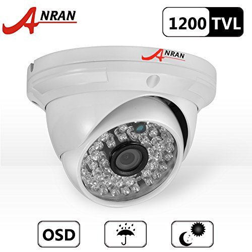 ANRAN 1200TVL High Resolution 48 IR LEDs Color Day Night Vision Infrared Security Waterproof Outdoor/ Indoor Dome Surveillance CCTV Camera