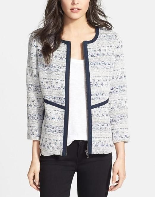 Love this textured jacket for work. It would pair well with pants, skirts and even jeans.