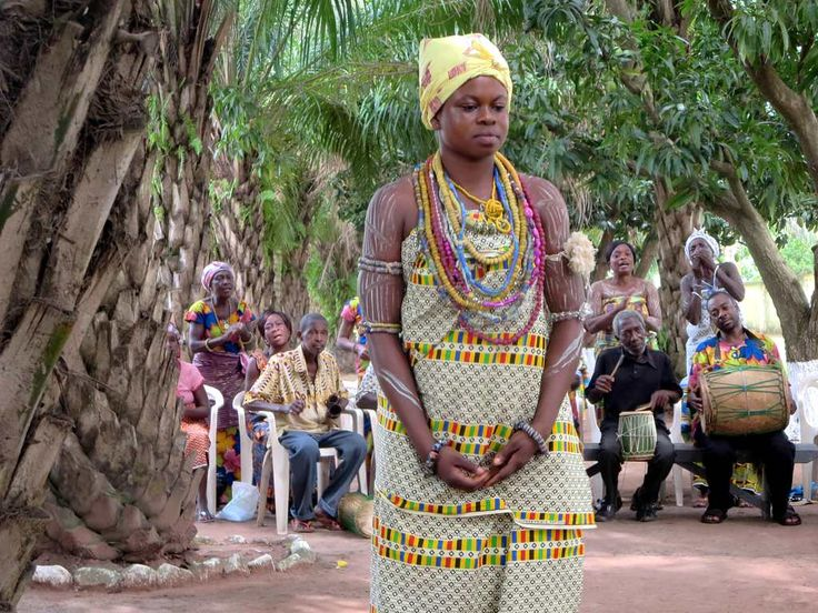 This woman at Odumase Krobo in eastern Ghana is wearing powder glass bead necklaces.