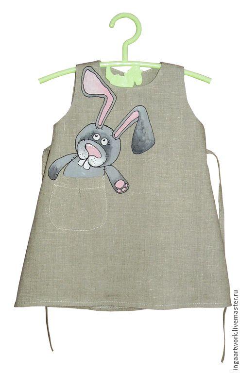 Купить Льняное детское платье.Ручная роспись.Размер по росту 86 см - серый, лён