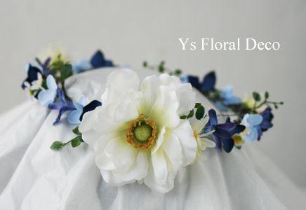 hk00304 ブルー系のお花に白いアネモネの花冠 ys floral deco @沖縄