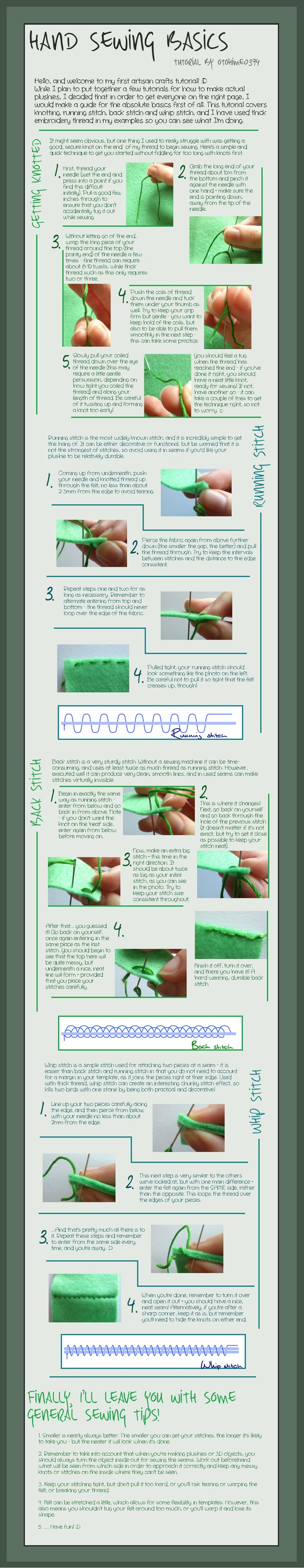 Hand Sewing Basics - Tutorial by otohime0394.deviantart.com on @deviantART