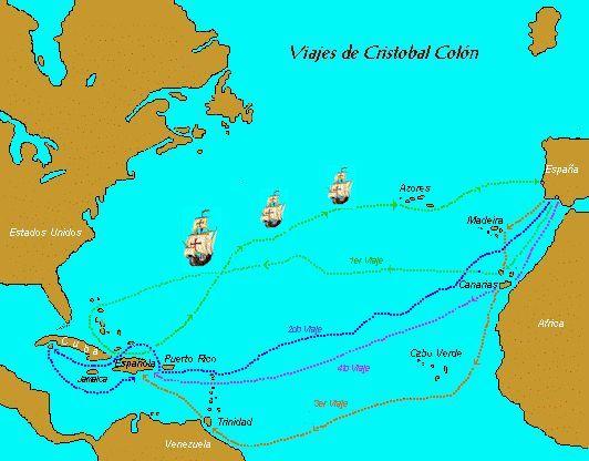 Resultado de imagen para mapa de las rutas de cristobal colon para llegar a america