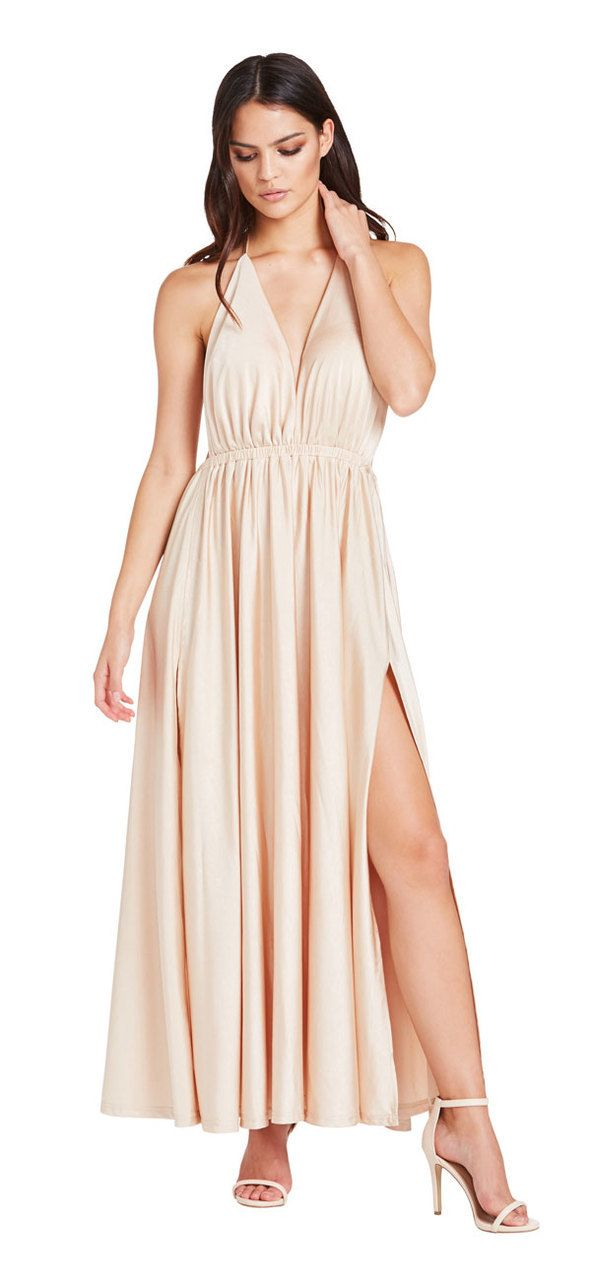 Santorini Double Split Maxi Dress (Taupe) - Miss G