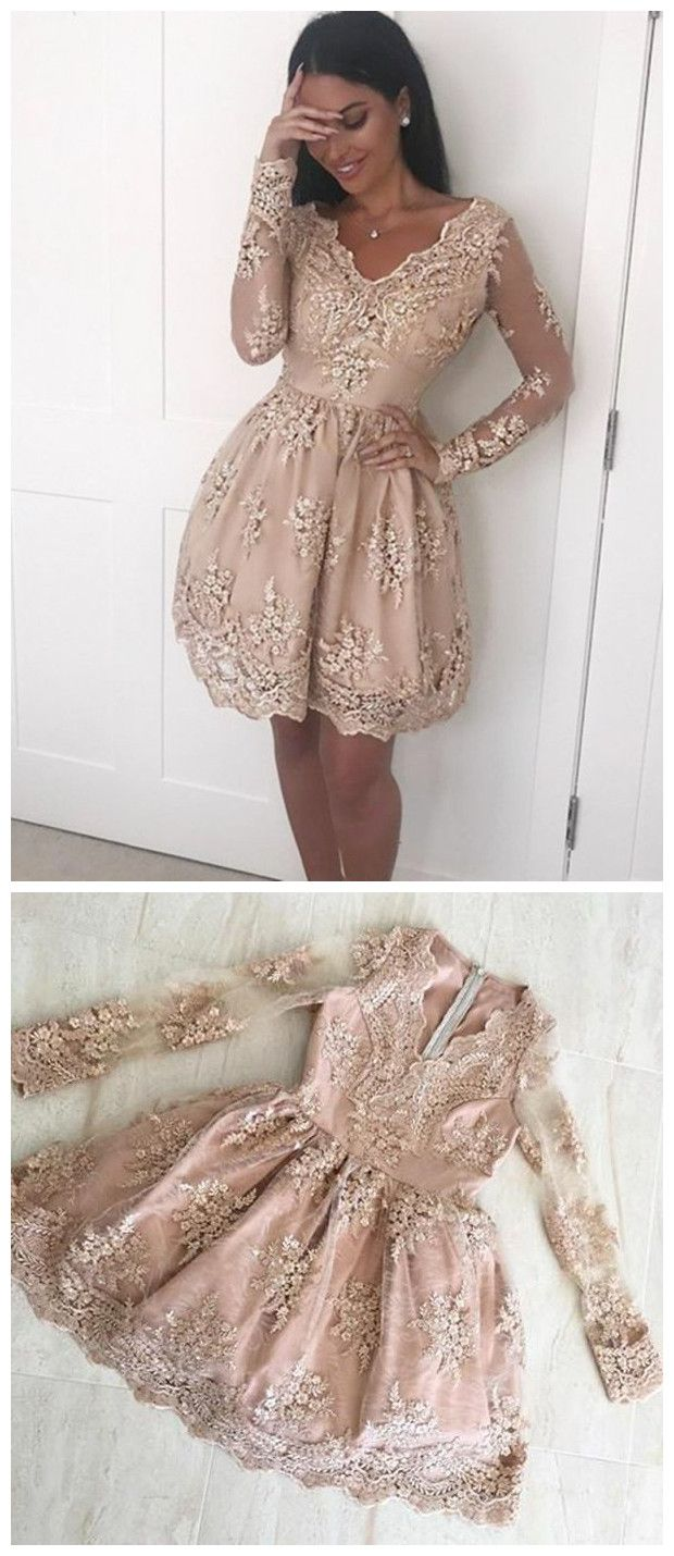 Champagne Long Sleeves Lace Short Prom Dresses, Long Sleeves Formal Dresses, Homecoming Dresses 1