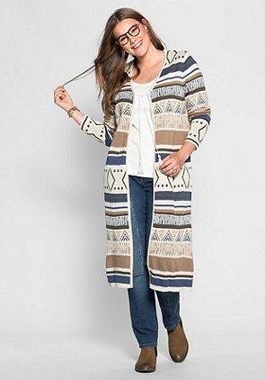 sheego Casual Longstrickjacke mit Jacquard-Muster - bunt - SHEEGO CASUAL