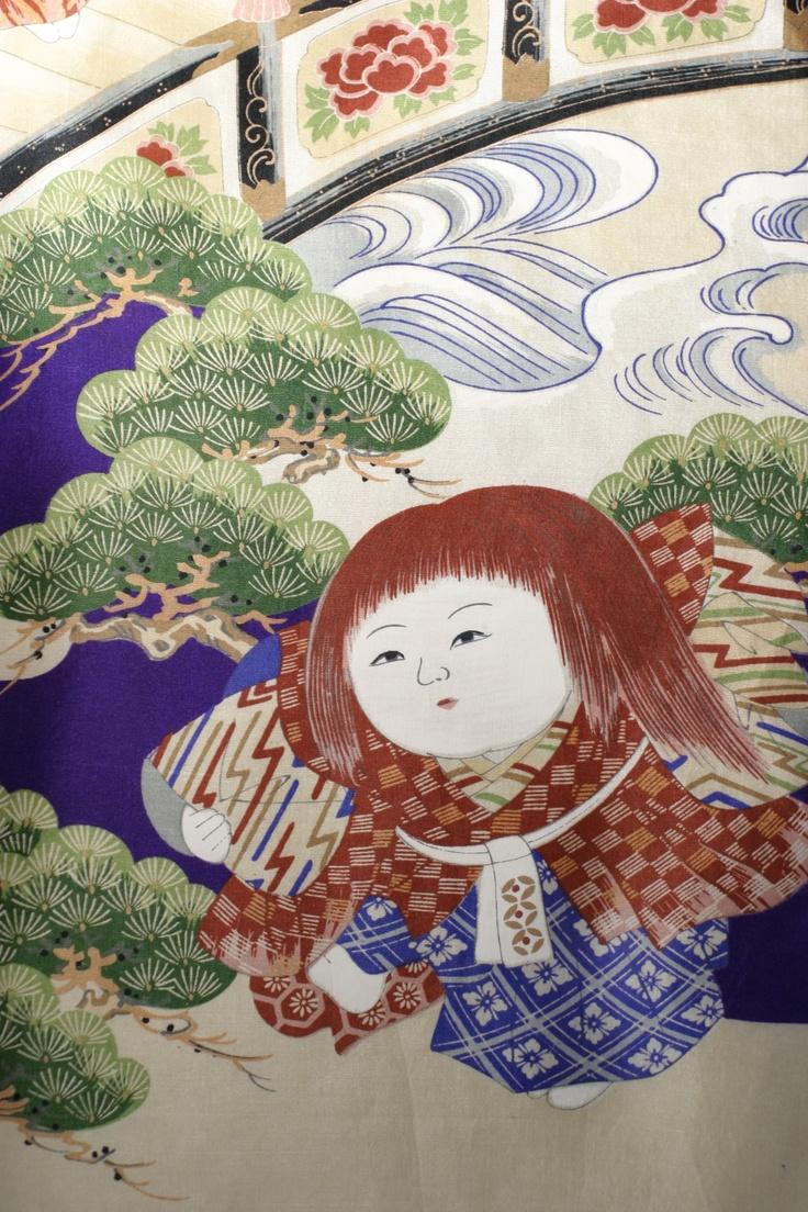 Detail of a boy kimono depicting a little Kabuki player. Collection Carolina Breuer
