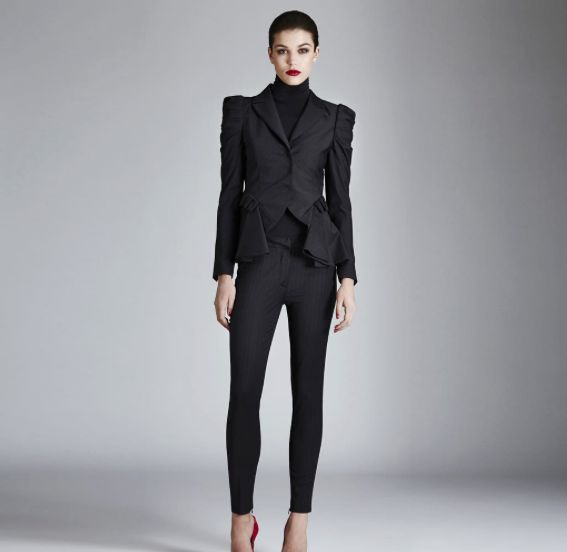 """Always feminine even at work: couture jacket """"Sixty"""" and trousers """"Number"""" >> available in our stores and shop online."""