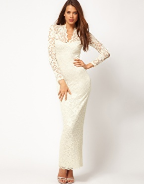 ASOS Lace Maxi Dress with Scallop Neck