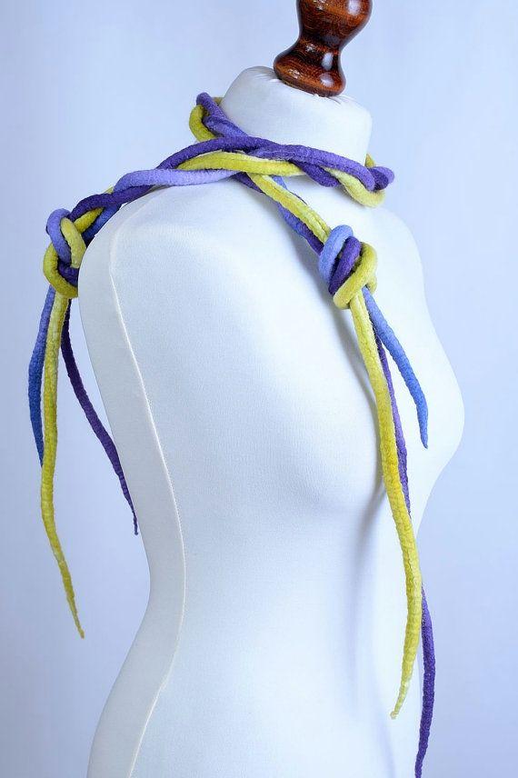 Ожерелье из войлока лайм фиолетовый длинное ожерелье от BlanCraft