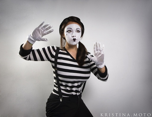 mime for halloween striped shirt black skirt black tights boots suspenders - Mime For Halloween
