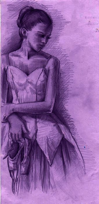 Artist: Unknown.. what do you see of her thinking of the moment... what is behind and ahead in her mind...  I love purple art... purposes of the unknown, eyes see more than do...