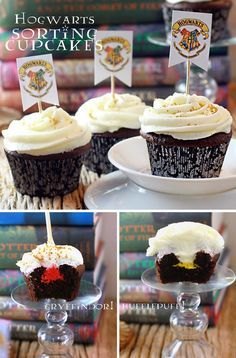 This is such a great idea for a Harry Potter theme party! House Sorting Cupcakes. #harrypotter #hogwarts via Sugar Bean Bakers