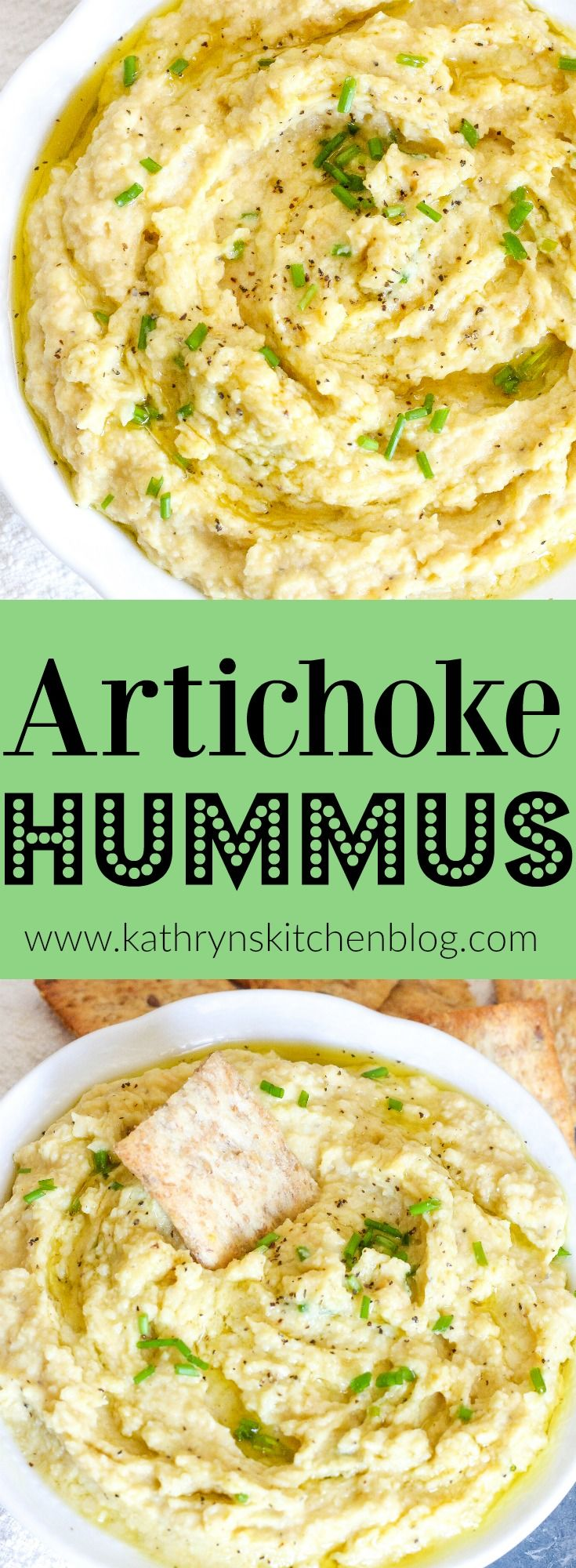 Homemade Artichoke Hummus// Kathryn's Kitchen Blog