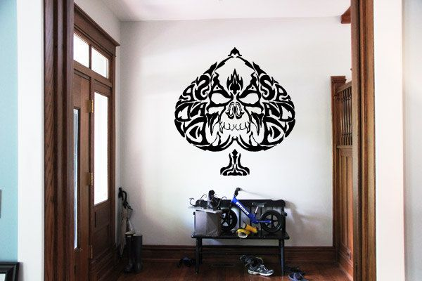 Wall Vinyl Sticker Decals Mural Room Design Pattern Art Card Game Play Spades Scull  bo1806 by RoomDecalsAndDesigns on Etsy