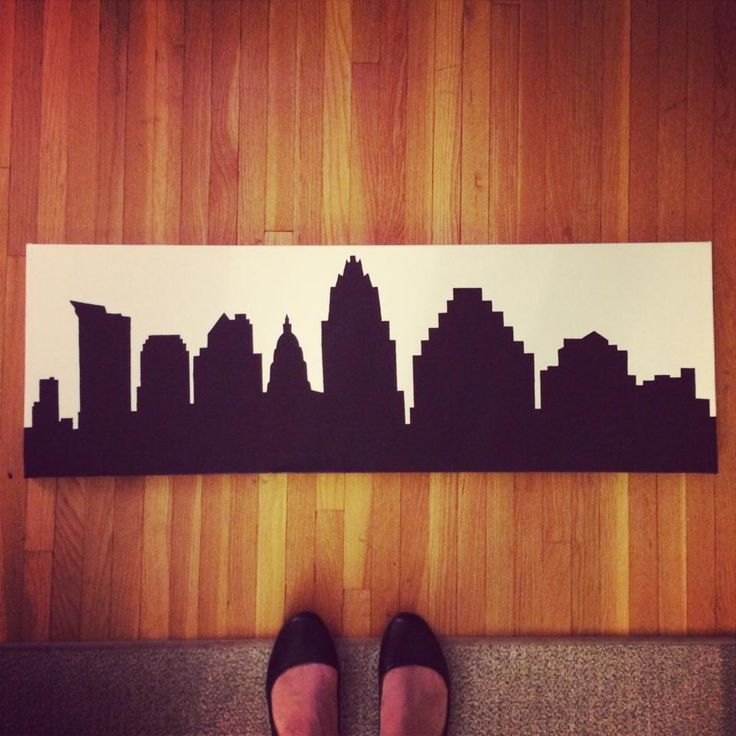 "Austin, TX Skyline Silhouette Painting, 12"" x 36"", Acrylic on Canvas, Custom Made, Various Cities, Colors, and Sizes Available by bluebrushstudios on Etsy https://www.etsy.com/listing/205369273/austin-tx-skyline-silhouette-painting-12"