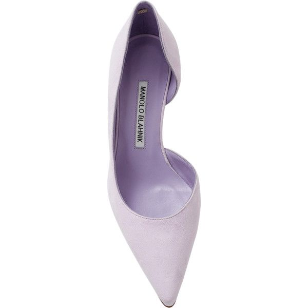 Manolo Blahnik Collina Pump ($695) ❤ liked on Polyvore featuring shoes, pumps, mid-heel pumps, pointed toe shoes, lavender pumps, manolo blahnik pumps and lavender shoes