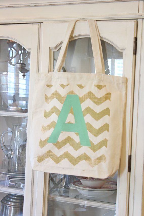 "6 ""MODERN CHEVRON""Tote Bag, Monogrammed Tote bag,Chevron Bag,Bridesmaid Tote Bag ,Wedding Tote ,Custom Tote Bag,gold,Modern Vintage Market"