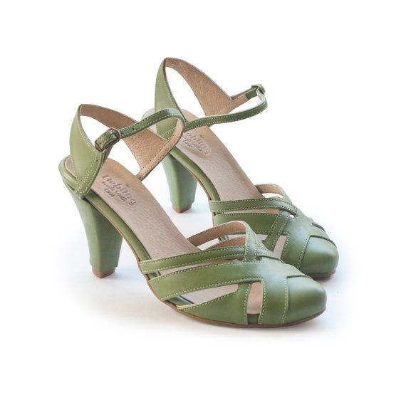 Green sandals, high heels, wedding shoes, women's shoes, olive green shoes, handmade leather shoes by Liebling on Etsy. Sara model.
