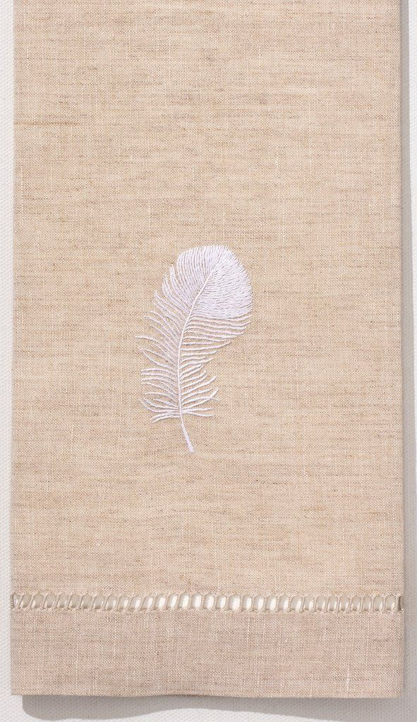 Feather White Hand Towel - Fleck Linen