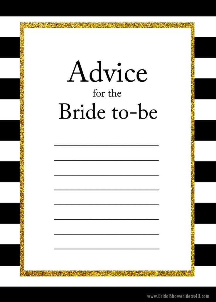 FREE Printable Advice for the Bride To Be Cards