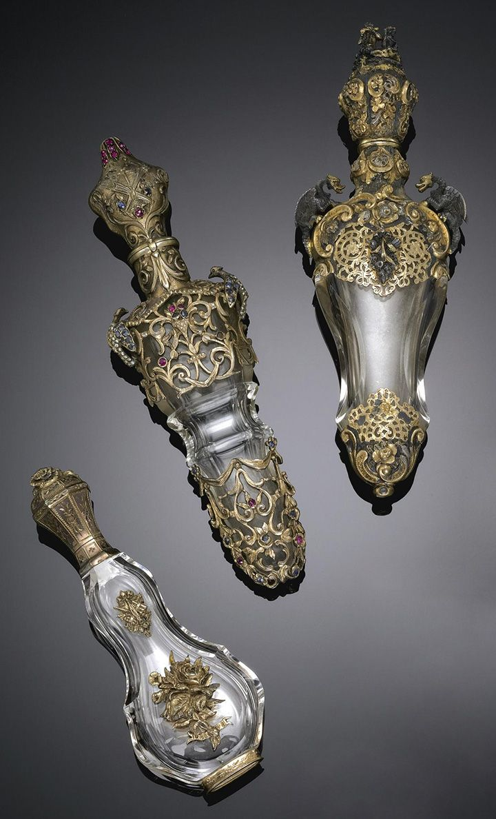 Three gold and silver perfume bottles, circa 1900s #antique #vintage #scent