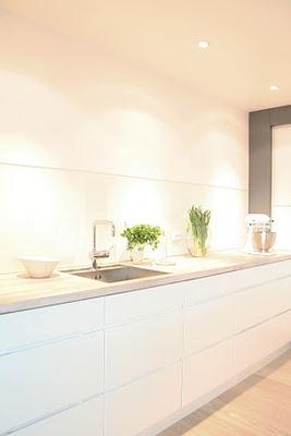 Contemporary minimalist clean all white kitchen.