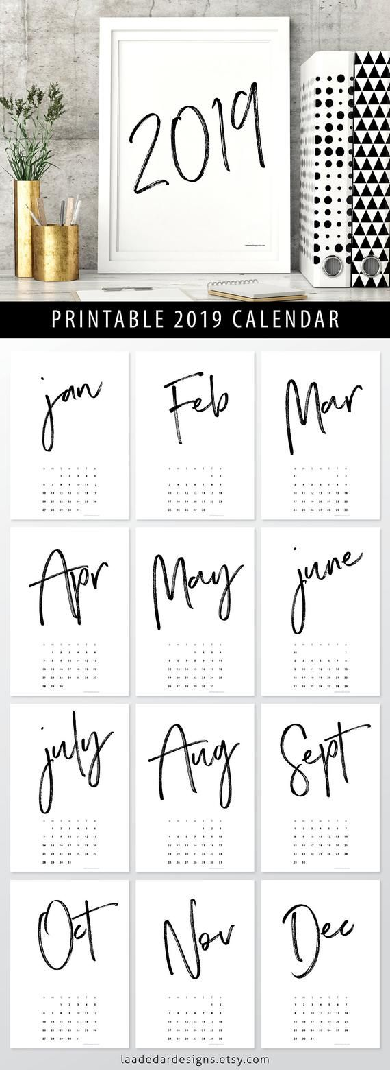 2019 printable calendar a4 - instant download
