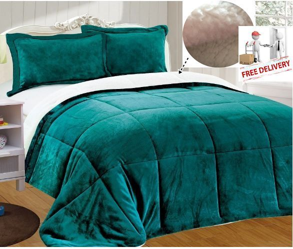 3 Pcs Comforter Plush Sherpa King Set Shams Teal Bed Reversible Soft Warm  Gift #ChezmoiCollection - Best 25+ Teal Bedding Sets Ideas On Pinterest Bedroom Fun, Teal