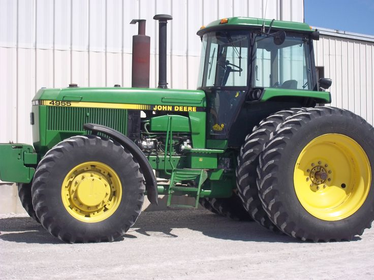 200 PTO hp John Deere 4955.Turbocharged & intercooled 466 cid diesel engine,18,370 lbs,102 gallon fuel tank,9-11 hght,119 inch wheelbase.This was tested in 1989 @ 202 PTO hp,182 dbr hp,18,370 lbs,24,665 lbs.This 4955 was the start of another dumb move by JOhn Deere until 1999.The 4955 was the start of something stupid for a decade on John Deere's part of making a 200hp tractor between 1989-99