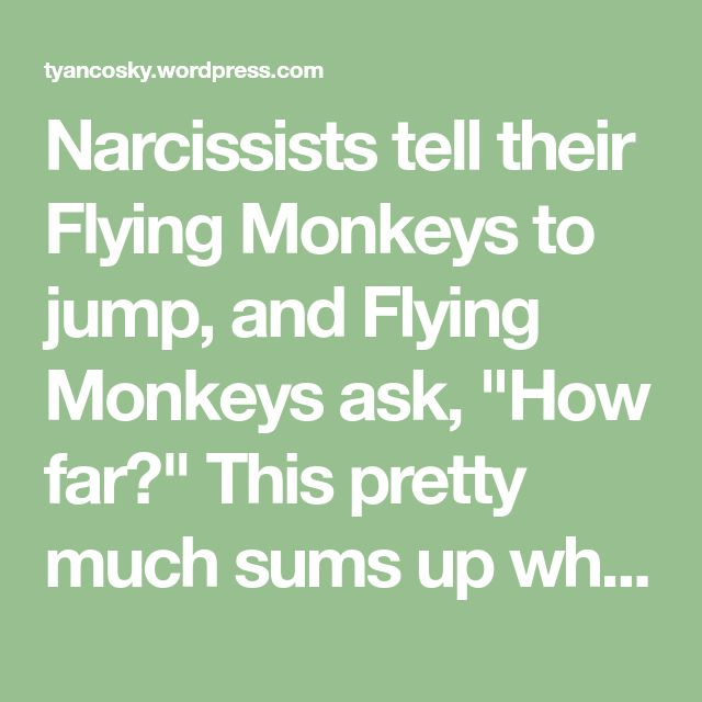 """Narcissists tell their Flying Monkeys to jump, and Flying Monkeys ask, """"How far?"""" This pretty much sums up what Flying Monkeys do for their Narcissistic Commanders. They help these vindictive, dark individuals to carry out their despicable plans in order to ruin as many lives as possible. Flying Monkeys help spread false rumors and lies,…"""