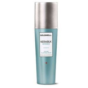 GOLDWELL Kerasilk Repower Volume Plumping Cream  Apply to towel dried hair flip your part to set height into place and air dry.