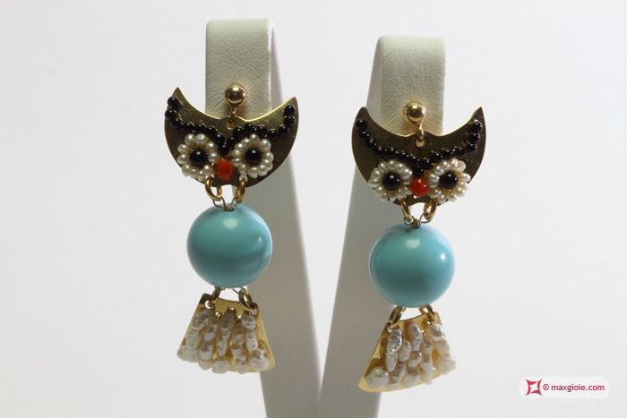 Owlet Earrings [Turquoise, Pearl, Coral, Onyx] in Gold Plated Silver - Orecchini Gufetto [Turchese, Perle, Corallo, Onice] in Argento 925 placcato Oro #jewelery #luxury #trend #fashion #style #italianstyle #lifestyle #gold #store #collection #shop #shopping  #showroom #mode #chic #love #loveit #lovely #style #all_shots #beautiful #pretty #madeinitaly