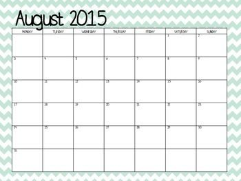 This is a blank calendar for the 2015-2016 school year.  It goes from August 2015-July 2016.  The calendar is set up Monday-Sunday.Thanks for downloading!  If you need teacher divider sheets, please click below.Teacher Divider Sheets