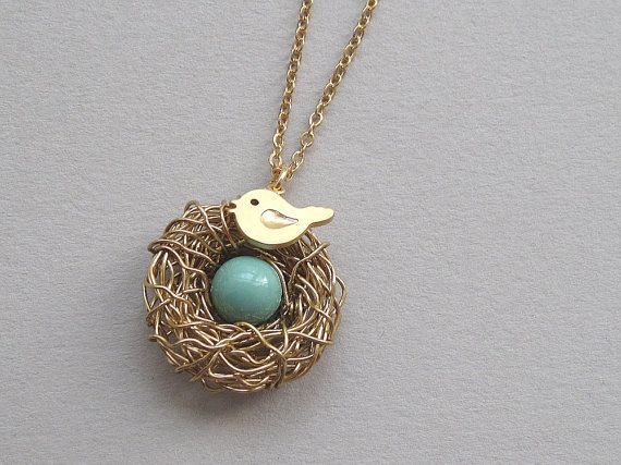 wire neckless bird nest | Bird nest necklace, gold wire wrapped nest, baby bird charm, swarovski ...