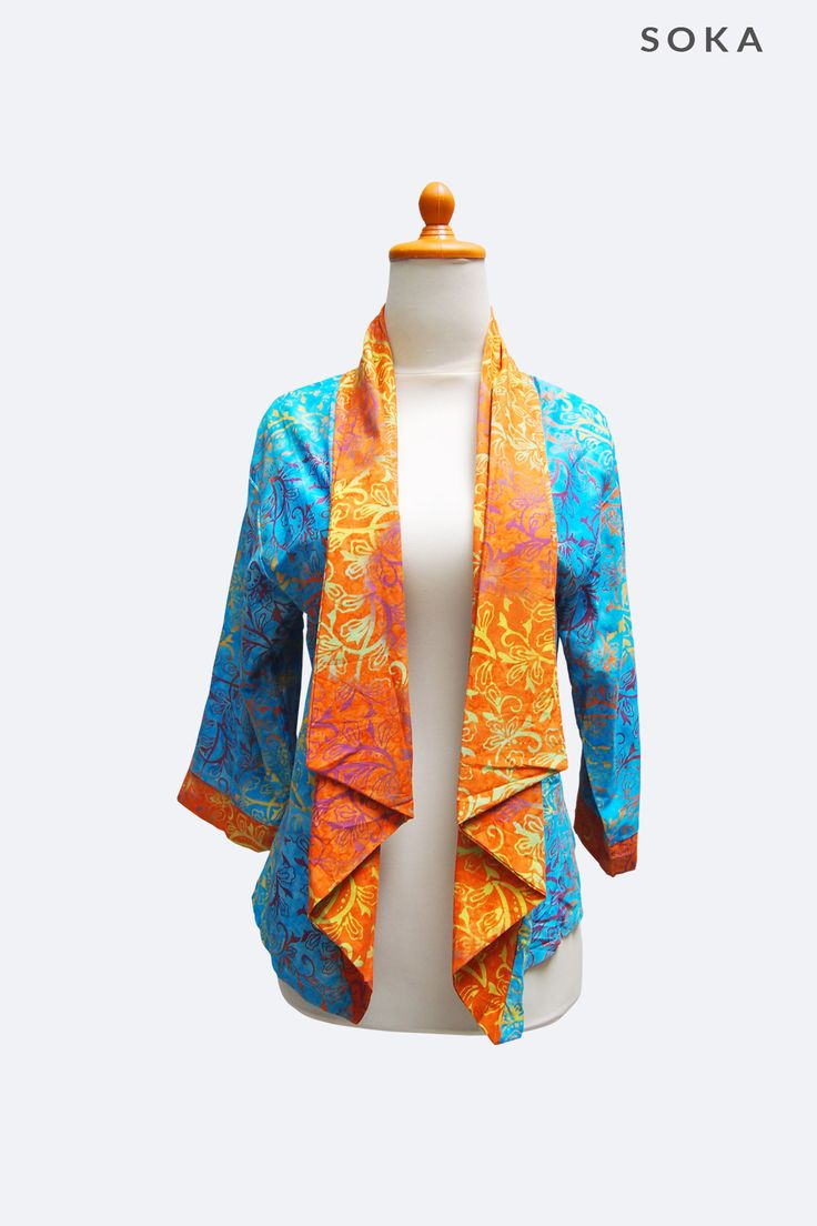 Blue batik bolero jacket with orange collar