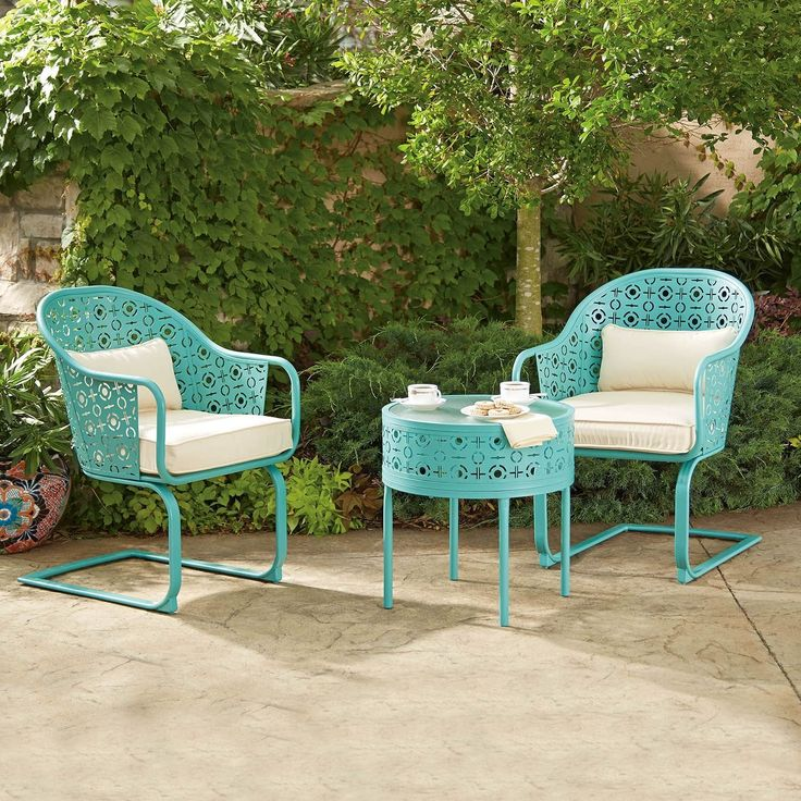 Patio Set 3 Piece Bistro Furniture Garden Yard Outdoor Blue Table And Chairs  NEW