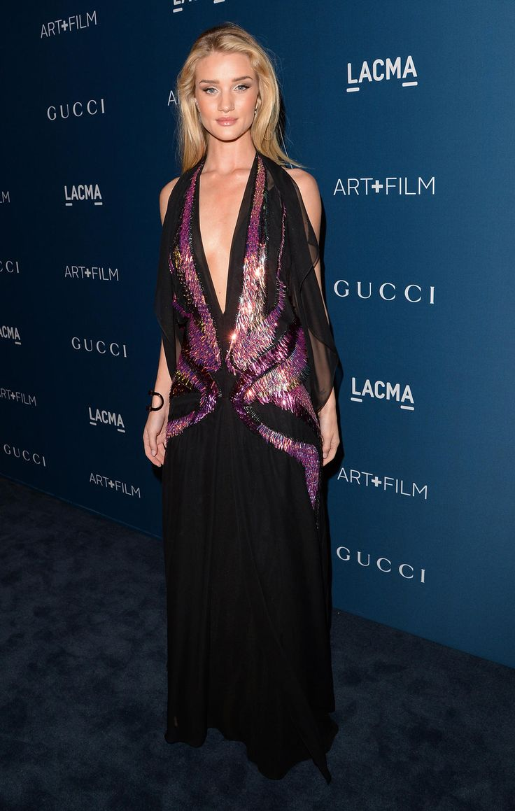 Rosie Huntington-Whiteley -- Model-turned-actress Rosie Huntington-Whiteley played up the artistic side of the night at the LACMA and donned a revealing black bedazzled Gucci number. Are you a fan of the look? (11/2/13) Credit: Jason Merritt/ Getty Images