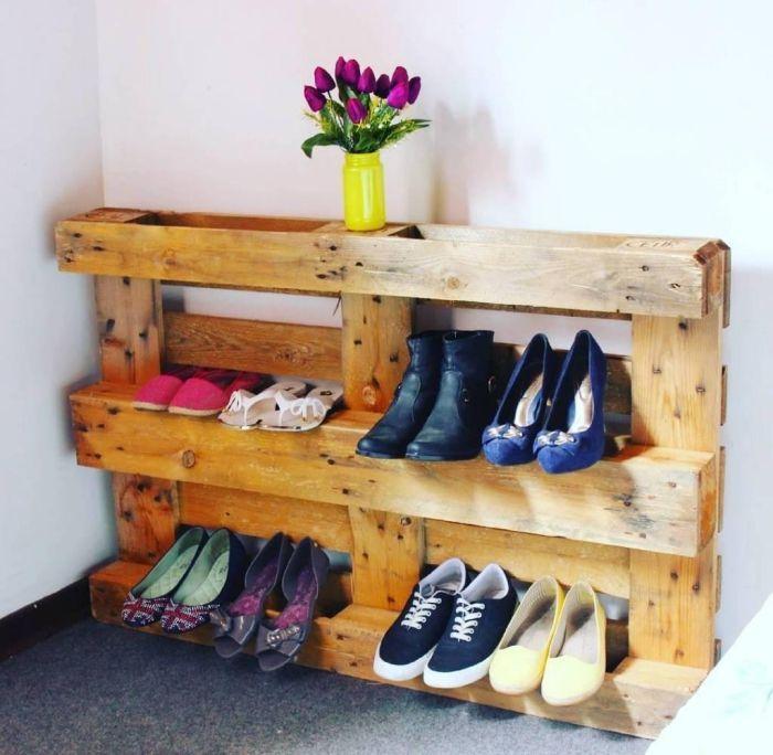 Meuble Chaussure Palette 1001 Idees Pour Trouver Lastuce Rangement Chaussures Id Astuce Rangement Chaussures Rangement Chaussures Meuble Chaussures Palette