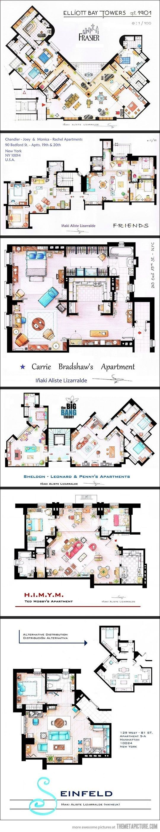 Floor plans from TV series: Seinfeld, HIMYM, The Big Bang Theory, F.R.I.E.N.D.S. Sex and the City, Frasier