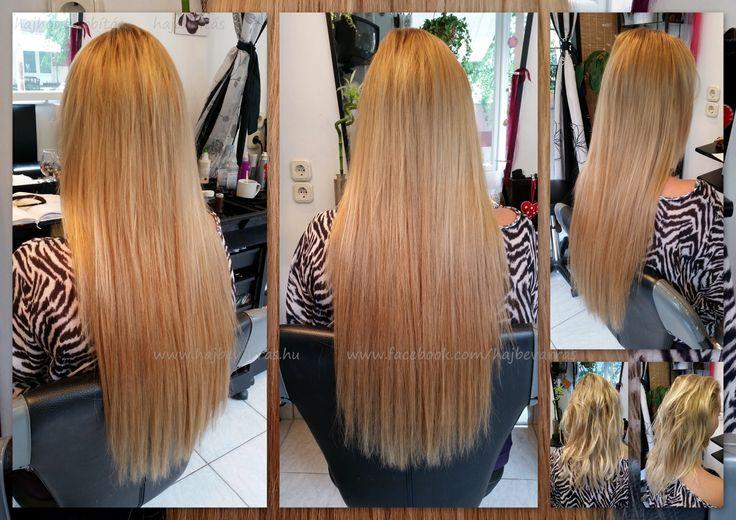 Hajhosszabbítás, 60 cm-es európai hajból, 3 soros mikrogyűrűs felvarrással.  www.fb.com/hajbevarras  #hajhosszabbitas #hajdusitas #hairextension