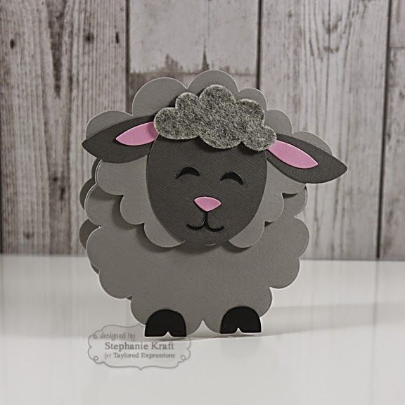 HandKrafted by Stephanie—TE Sack It - Lamb, made into shape card by fitting his face over the largest Bloomin' Stacklets 2 die...
