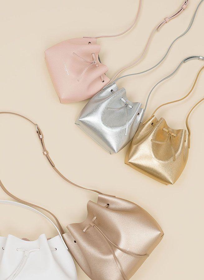 Mini and small bucket bags, Pur Saffiano, Lancaster Paris. #pur #saffiano #bucketbags #bucket #bags #sacs #glitter #shiny #gold #champagne #silver #pink #pastel #summer #chic #accessories #mini #lancaster #lancasterparis