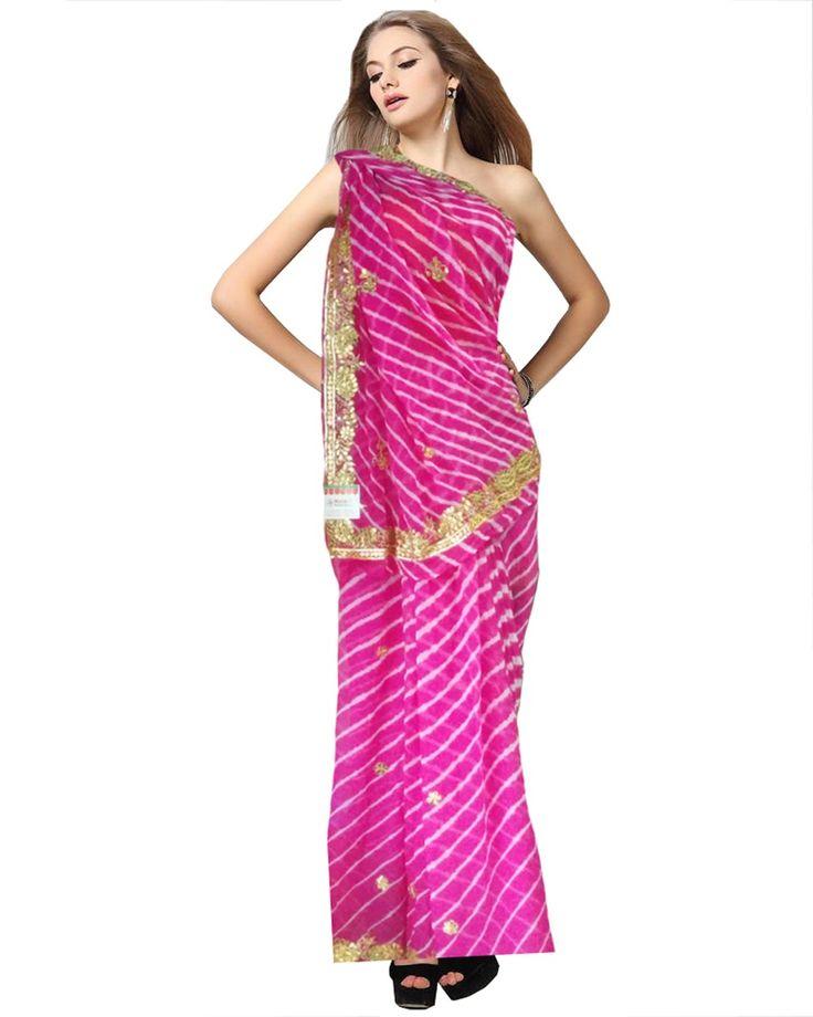 Pink Color Gota Patti With Leheria Print Saree http://www.sulbha.com/pink-color-gota-patti-with-leheria-print-saree-p-9471.html