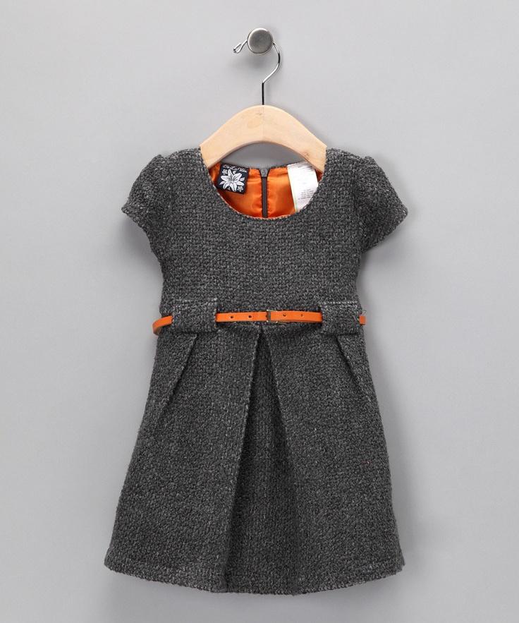 Gray & Orange Bouclé Dress - Infant & Girls