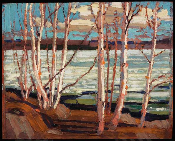 """Early Spring,"" Tom Thomson, 1917, oil on wood, 8.5 x 10.5"", Art Gallery of Ontario."
